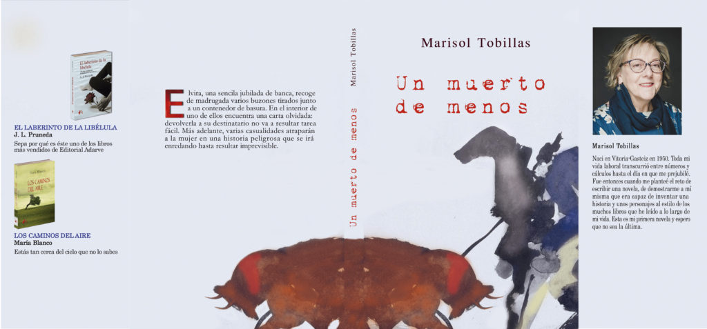 Cubiertas del libro Un muerto de menos, de Marisol Tobillas diseñadas por Adarve